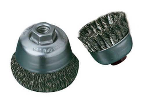 United Abrasives- SAIT 06419 2-3/4' x .014 x 5/8-11 Arbor Stainless Bristle Knot Style Angle Grinder Small Cup Brush