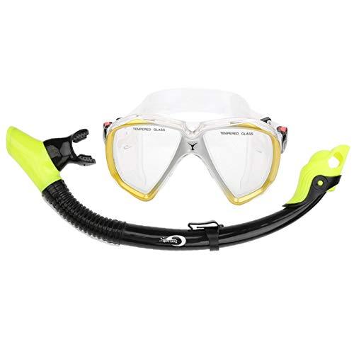 DAUERHAFT Juego de máscara de Silicona para Nadar, Gafas de Buceo antivaho, Juego de Tubo de respiración, Equipo de Snorkel de Moda, para Nadar, bucear, bucear(Amarillo)