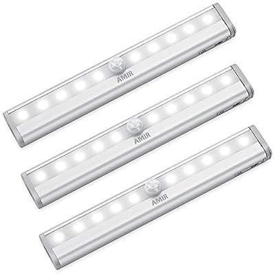 AMIR (Upgraded Version) Motion Sensor Lights, Battery-Powered LED Night Lights, Stick-Anywhere Closet Lights Stair Lights, Wall Lights for Hallway, Bathroom, Bedroom, Kitchen etc. (White - Pack of 3)