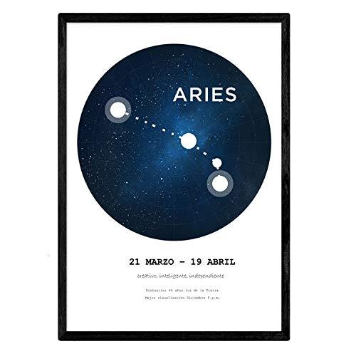 Gelamineerd met het sterrenbeeld Ram. Poster met stersymbool in A4-formaat en witte achtergrond