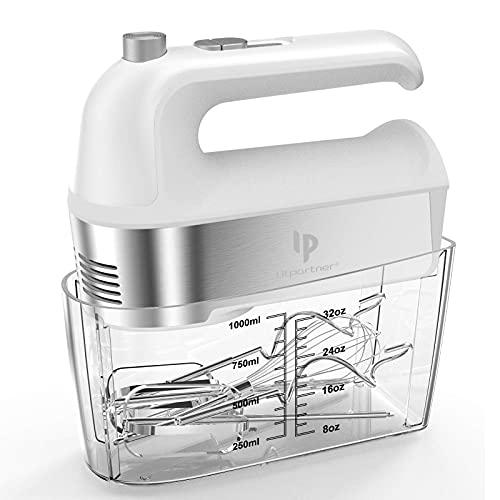 Handrührer 450W-Küchenmixer mit Turbostufe,Turbotaste / Selbststeuerungsgeschwindigkeit 5 Geschwindigkeiten,Auswurftastendesign,spülmaschinengeeignet 5 Edelstahlaufsätze,weiß/Silber-