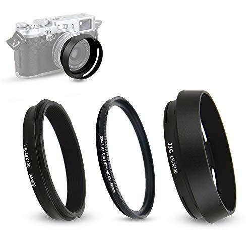 Parasol y Anillo Adaptador (con Filtro UV) para Fujifilm Fuji X100V, X100F, X100T, X100S, X100, X70 sustituye a Fujifilm LH-X100