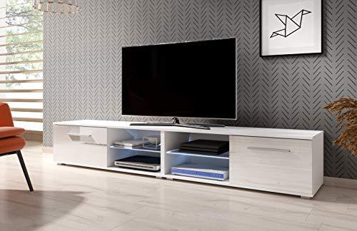 3xeLiving Mueble de TV modernista Punes Blanco / Blanco Brillante 200 cm LED