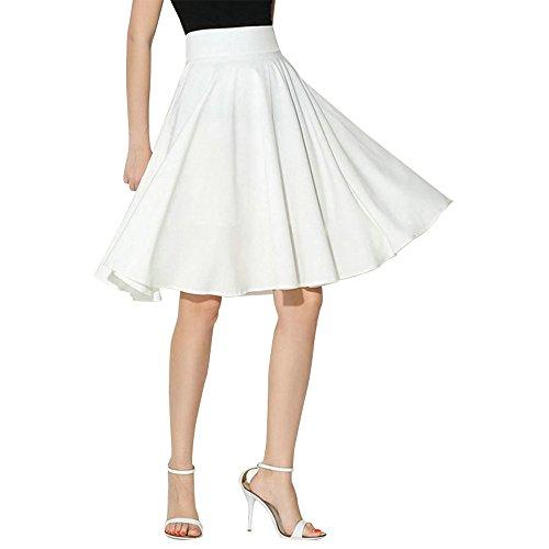 WUSIKY Rockabilly Kleider Damen Rock Mädchen Kleid Einfarbig Ausgestelltes Retro Lässig Knielang Gefaltet Midi Büroarbeit Tutu 2019(X-Large,Weiß)