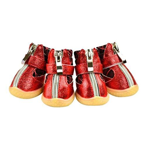 Donad Winter Pet Schuhe wasserdichte Schneeschuhe mit Reißverschluss Atmungsaktives Mesh Weiche Haustierprodukte Sneaker Stiefel 4 Teile/Satz