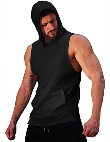 COOFANDY Camiseta de entrenamiento para hombre con capucha, para culturismo, entrenamiento muscular, con bolsillos 01-negro M