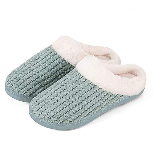 Hausschuhe Damen Winter Wärme Bequem Plüsch Pantoffeln Indoor Home rutschfeste Kuschelig Weite Leicht Slippers(Grün.HST,40/41 EU)