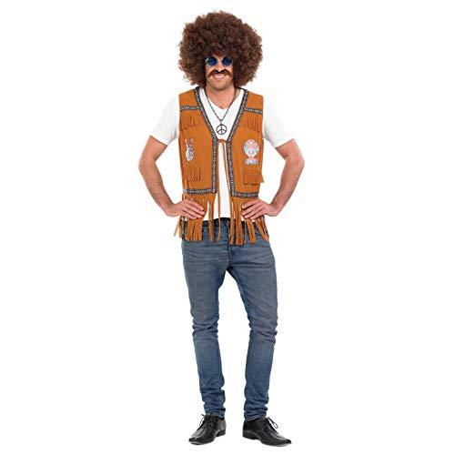 Fun Shack Mens Hippie Waistcoat Costume Adults 60s & 70s Fringed Hippy Top - Medium