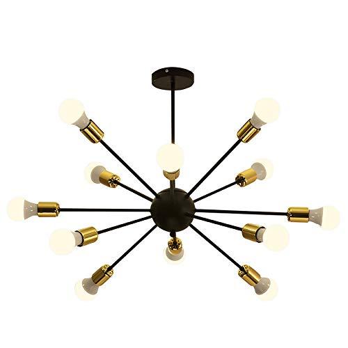 Dellemade Sputnik Kronleuchter 12-Licht Vintage Pendelleuchte für Esszimmer, Wohnzimmer, Küche, Büro, Café, Restaurant, Schwarz