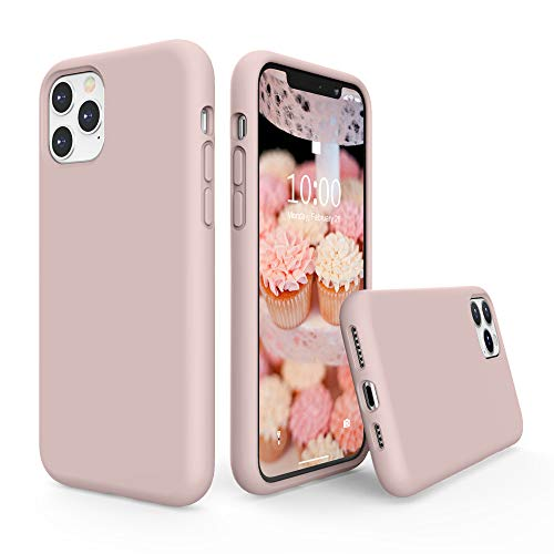 SURPHY Silicone Case Compatible with iPhone 11 Pro Max Case 6.5 inches, Liquid Silicone Full Body Thickening Design Phone Case (with Microfiber Lining) for 11 Pro Max 2019, Pink