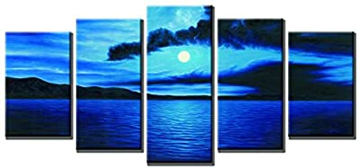 Wieco Art - Dark Blue Ocean White Sun Modern 100% hand painted Canvas Wall Art for Wall Decor Home Decorations£¬Stretched and Framed Art Work, Abstract Oil Paintings on canvas Wall Art ready to Hang for Wall Decorations Home Decor