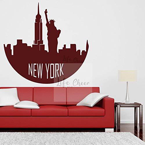 wopiaol witte baby muursticker thema muursticker New York skyline teken Home City silhouet landschap 65 x 57 cm