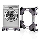 SMONTER Soporte para lavadora con pedestal deslizante y marco para frigorífico, multifuncional y ajustable, para secadora o congelador, 4 ruedas + 4 patas, color gris