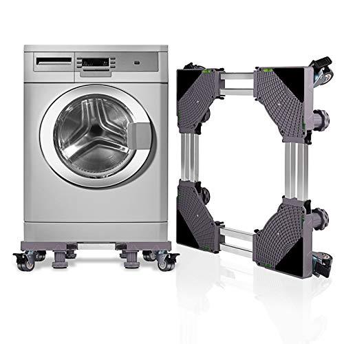 SMONTER Untergestell Waschmaschine Sockel verschiebbar Podeste & Rahmen für Kühlschrank Multifunktionaler beweglicher Verstellbare Stand für Trockner oder Gefrierschrank,4Räder+4Füße,Grau