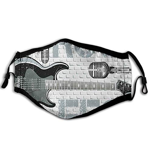 Windproof Mask Grunge Color Splashed Brick Wall Background Electronic Guitar Mics Design,Printed Facial Decorations for Man and Woman ABT-0001525