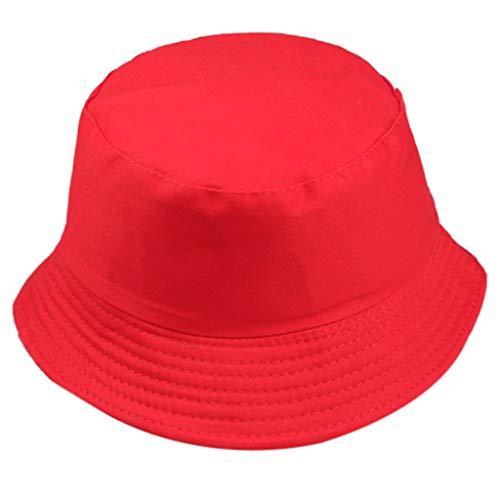 Lazzboy Store Fischerhut Unisex Bucket Hat Komfortables Material Sind Alle Verfügbaren Kappen Für Freizeitkleidung Sonnenhut Hut Frauen Männer Wilde Sonnenschutzkappe Im Freien(Rot)