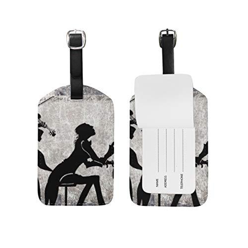 LORONA Klassische Collage Violine Klavier Gepäckanhänger Saiten Reise-ID-Etikett für Koffer Handgepäck, 1PC