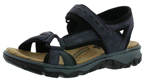 Rieker 68879 Damen Sandalen, Sandaletten, Sommerschuhe blau kombi (jeans/schwarz / 14), EU 37