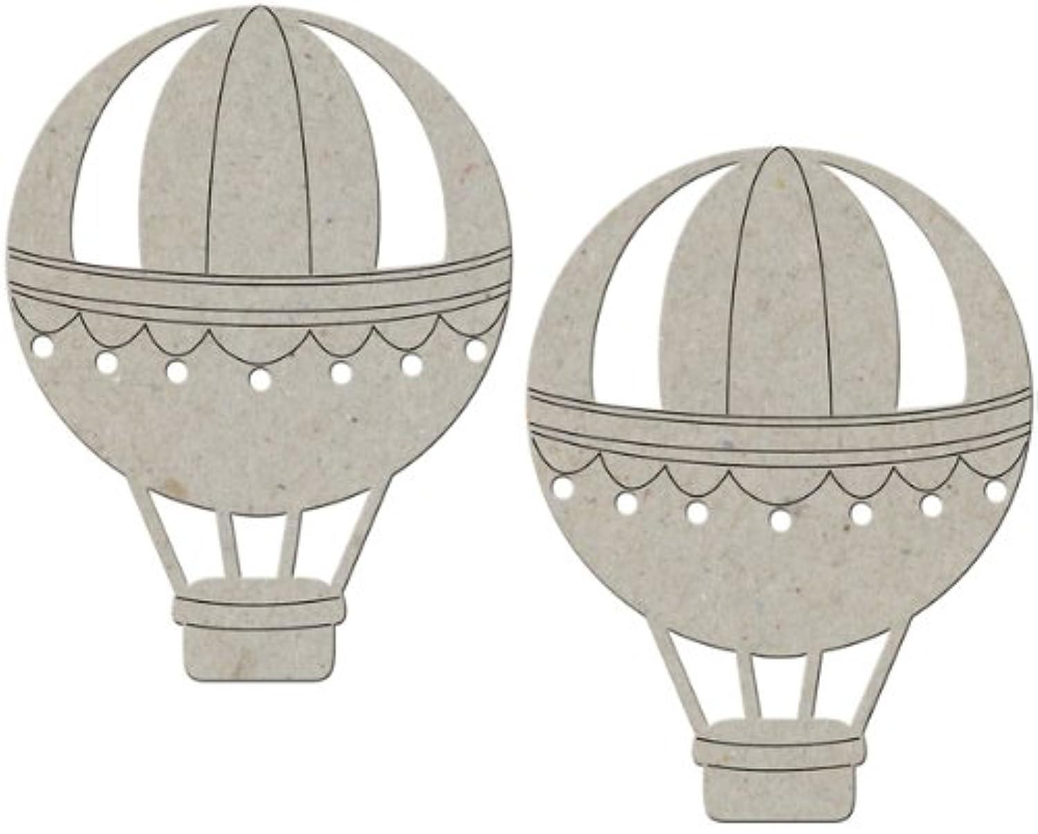 FabScraps Die-Cut Grey Chipboard Embellishment, Hot Air Balloon