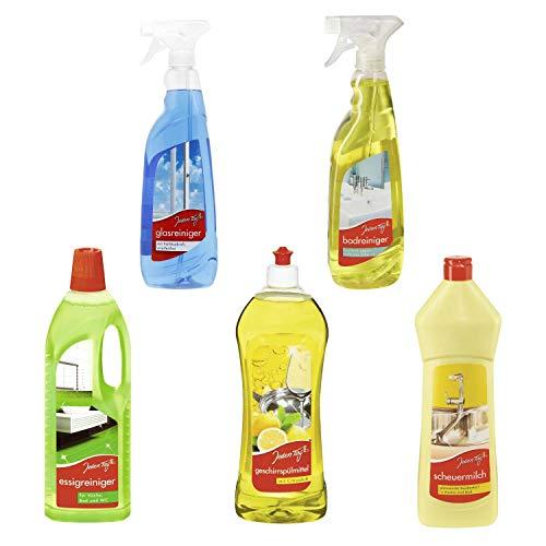 Set Badreiniger Glasreiniger Geschirrspülmittel Scheuermilch Essigreiniger für Küche Bad Fenster Dusche Sanitär Haushalt