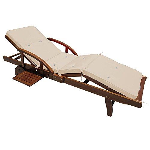 Deuba Sonnenliege Tami Sun | inkl Auflage Akazien Holz verstellbar ausziehbarer Tisch klappbar | Gartenliege Holzliege Liege