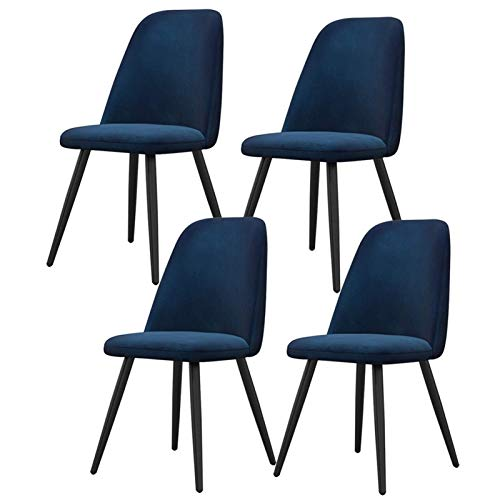 Set of 2 Kitchen Dining Upholstered Chair Soft Velvet Reception Pub Restaurant Chair Lounge Living Room Chair with Strong Black Metal Legs (Color : Blue)