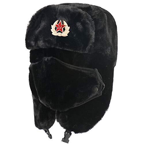 Russen Mütze Herren Winter Thermal Bomber Hüte Frauen Männer Sowjetarmee Militärabzeichen Russland Hut Ohrenklappe Schneekappen-Bk_Soviet_Badge