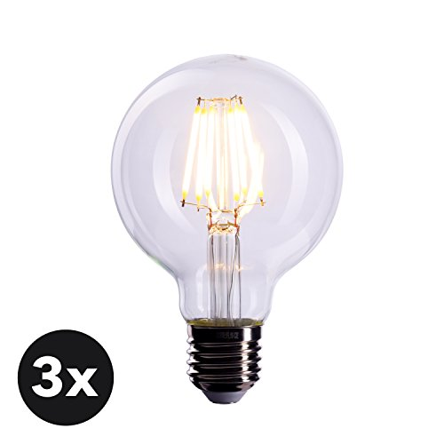 CROWN LED 3x Glühbirne E27 Fassung Dimmbar, 6 Watt warmweißes Licht, Klare Lampe zur hellen Beleuchtung, Energieklasse A+, FL05
