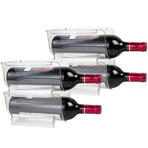 TANOSAN Juego de 4 Soporte para Botellas de Vino y Otras Bebidas, Fridge/Freeze Binz Botellero de Vino para 4 Botella, Estante apilable en plástico botellero para frigorífico (Juego de 4)