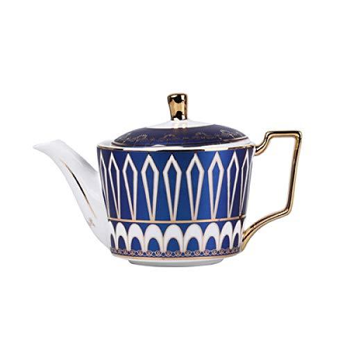 Taza de café de lujo Cerámica con borde dorado Tazas y platillo de té creativos Juegos de cucharas doradas divertidas Tazas de porcelana de café-Olla azul B