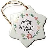 Dant454ty Couronne de fleurs et feuilles de Noël en céramique avec décorations de Noël joyeux et lumineux Rouge