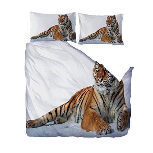 PANDAWDD Silky Soft Microfiber Duvet Cover Set Super King - 220x260cm Animal tiger, 3 PCS with Pillow Case Bedding Set, Smooth Feeling with Zipper, Hypoallergenic & Breathable Quilt Cover Set