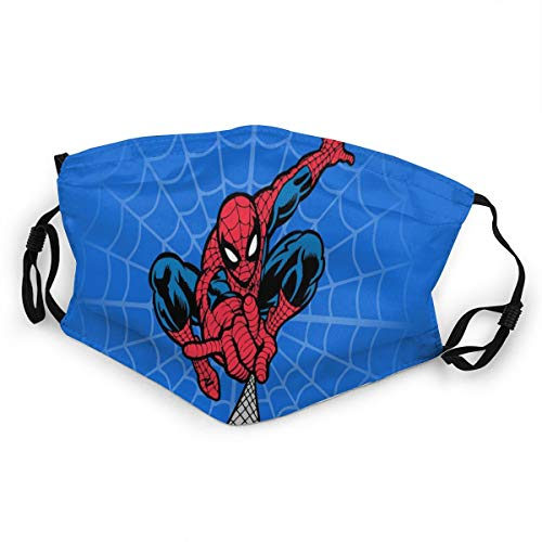 Marvel Spiderman Kids Dust Face Cover Washable Reusable Replaceable Filter Activated Carbon Soft Guard Cute Soft Lightweight Breathable Windproof Outdoor Sports