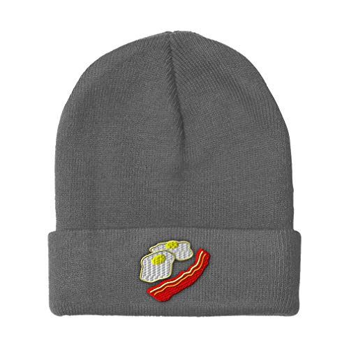 Custom Beanie for Men & Women Eggs and Bacon Embroidery Acrylic Skull Cap Hat Light Grey Design Only