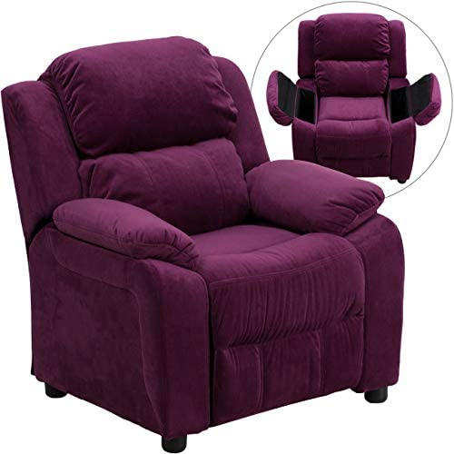 Best Flash Furniture Deluxe Padded Contemporary Purple Microfiber Kids Recliner with Storage Arms