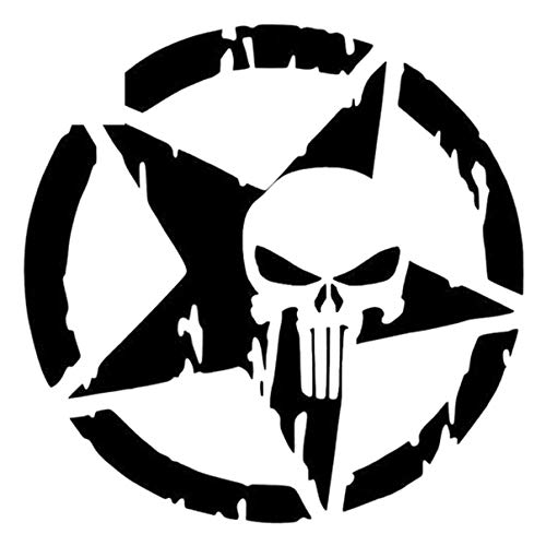 Hattyer Auto Waterproof Accessories 1515CM Pentagram The Punisher Skull Car Sticker Vinyl Decals Motorcycle Accessories Art Car Rear Window Decal Decor