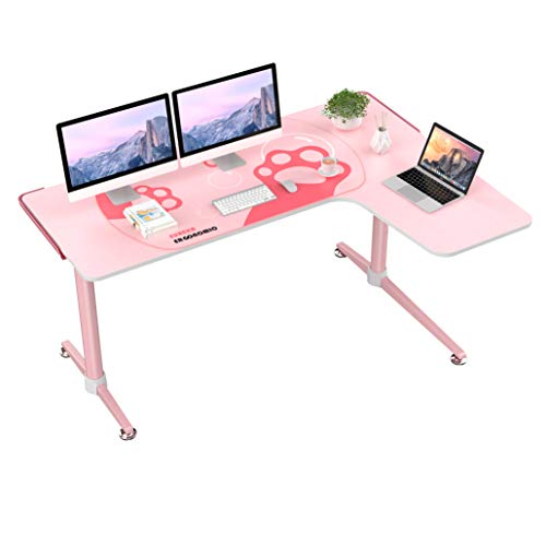 EUREKA ERGONOMIC L60 Corner Gaming Desk, L-Shape Pink Gaming Computer Desk Home Office Writing Table 60 X 43in W Mousepad Popular Gift for Girl/Female/E-Sports Lover Right Side