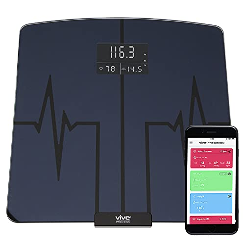 Vive Precision Smart Scale - Heart Rate Bathroom - Measures Body Weight, Fat, BMI, Water Percentage - Electric Health Meter - Large Digital Screen Device with Accurate Analyzer and App