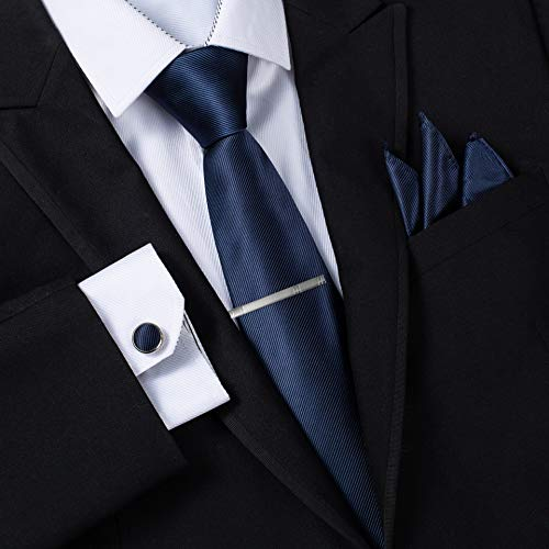 Massi Morino ® Mens Tie Set (Cufflinks and tie set) Box including Men ties + Cufflinks + handkerchief (Dark Blue)