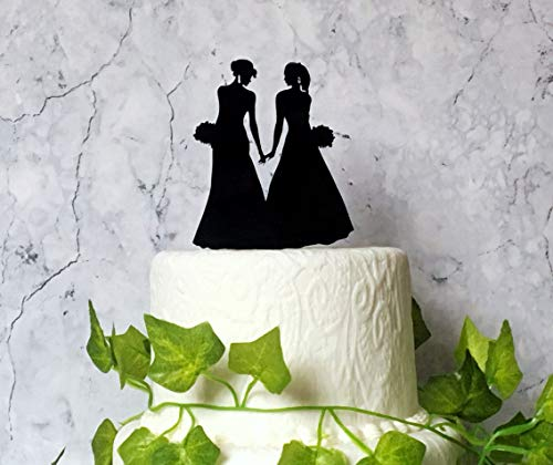 Cake Toppers Acrylic, Two Brides Wedding Cake Topper, Lesbian Silhouette Decoration, LGBT Wedding, Black Acrylic Cake Decor, Gay Couple, Black