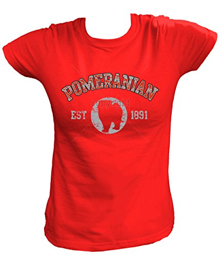 Artdiktat Damen T-Shirt - Pomeranian Zwergspitz - Old School Est. 1891 Größe XXL, rot