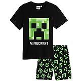Minecraft Schlafanzug Jungen Kurz, 100% Baumwolle Pyjama Kinder Set mit T Shirt und Kurze Hosen, Creeper Design Shirt für Teenager, Original Fanartikel, Geschenke für Kinder (11-12 Jahre)