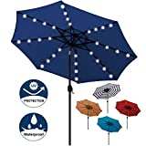 Best Patio Umbrellas - Blissun 9 ft Solar Umbrella 32 LED Lighted Review
