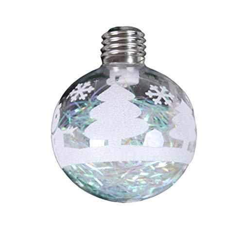 Luccase ABS Glaskugeln Lichter LED Transparent Kugel LED Licht Schneeball Hänge Anhänger Craft Christmas Dekoration Weihnachtsbaum für Hotel Restaurant, Weiß