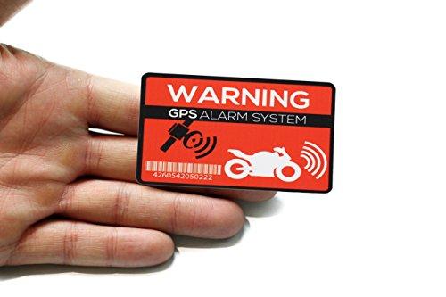 Pegatina de alarma GPS para moto, 2 unidades, calidad prémium, 7 cm x 5 cm, para colocar desde el exterior, prevención de robo de motocicletas