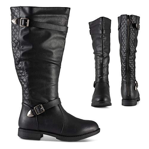 Twisted Amira Women's Zipper Knee High Boots, Wide Calf Low Heel Ladies Shoes, Black, 9