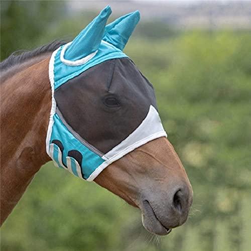LACKINGONE Máscara de Malla de Cabeza para Caballos Antimoscas Máscara de Caballo Protección con Orejas de Caballo Dos Colores (Azul)