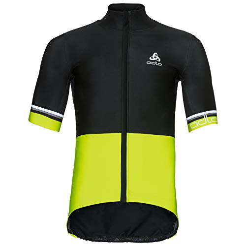 Odlo Herren Trikots und Shirts Stand-up Collar s/s Full Zip Vlaanderen, Black - Safety Yellow, XXL, 411182