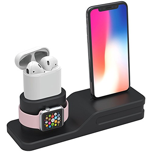 Tempo Apple Watch Stand, 3 in 1 Premium Silicone Charger Dock Station for Apple iWatch Series 1/2/3, AirPods, Compatible with iPhone X/8/8 Plus/7/7 Plus/6s/6s Plus (Not Included Cable/Adapter)
