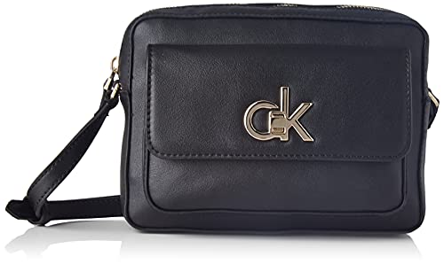 Calvin Klein Re-Lock Camera Bag W/Flap Pkt LG, Crossovers para Mujer, Black, Medium